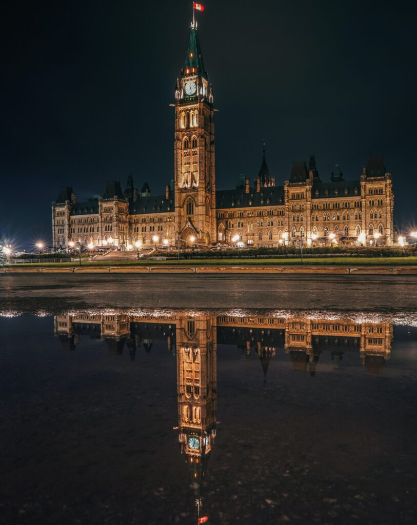 The Canadian Parliament buildings in Ottawa where Canadian legislation is written. Standards are developed by standards development organizations like CSA.
